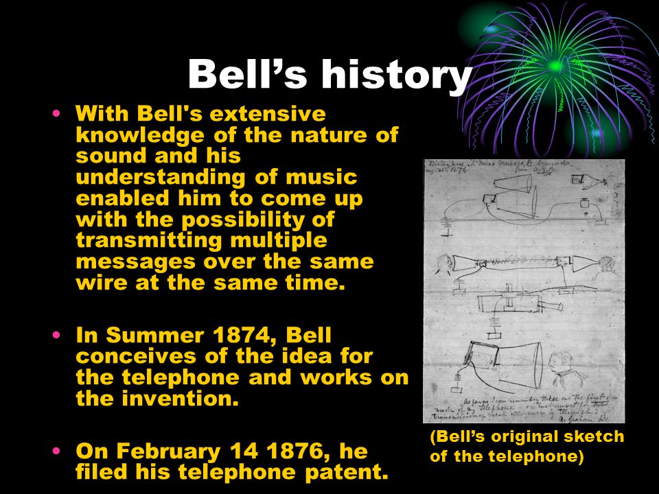 Bells history With Bell s extensive knowledge of the nature of sound and his understanding of music enabled him to come up with the possibility of transmitting multiple messages over the same wire at the same time.