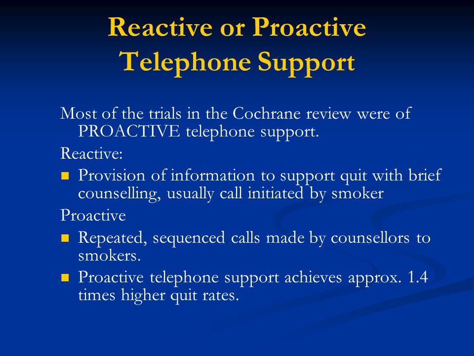Reactive or Proactive Telephone Support Most of the trials in the Cochrane review were of PROACTIVE telephone support.