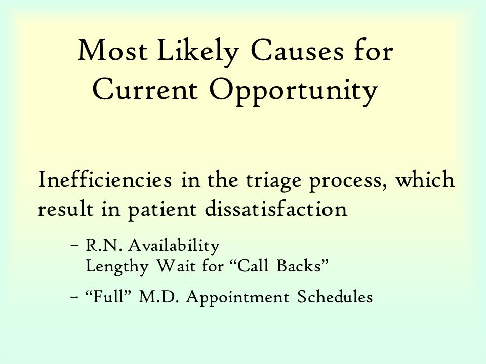Most Likely Causes for Current Opportunity –R.N.
