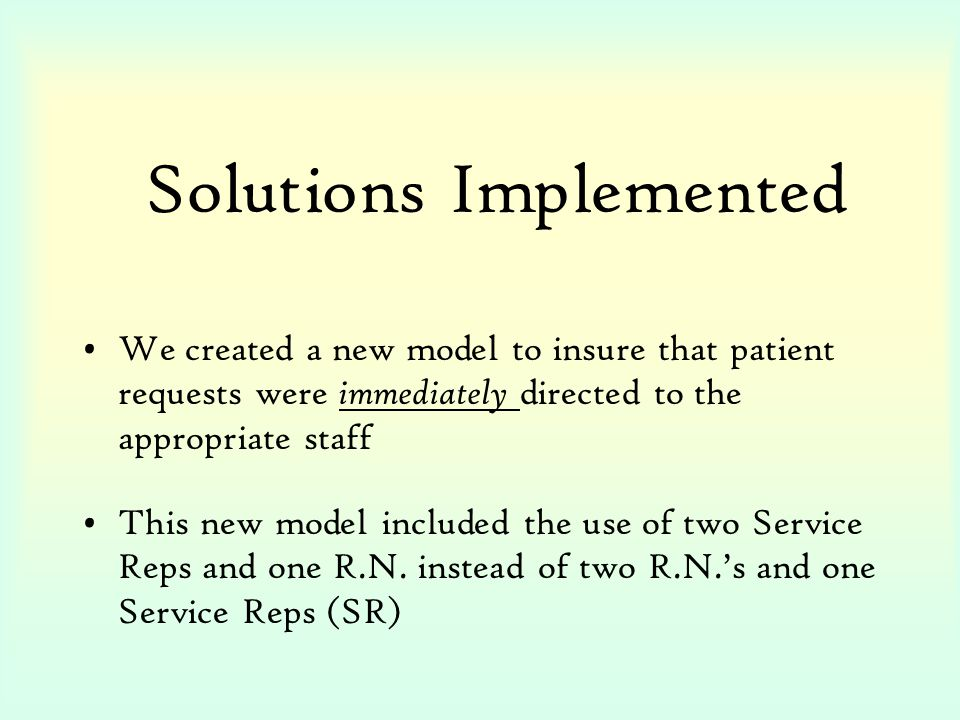 Solutions Implemented We created a new model to insure that patient requests were immediately directed to the appropriate staff This new model include