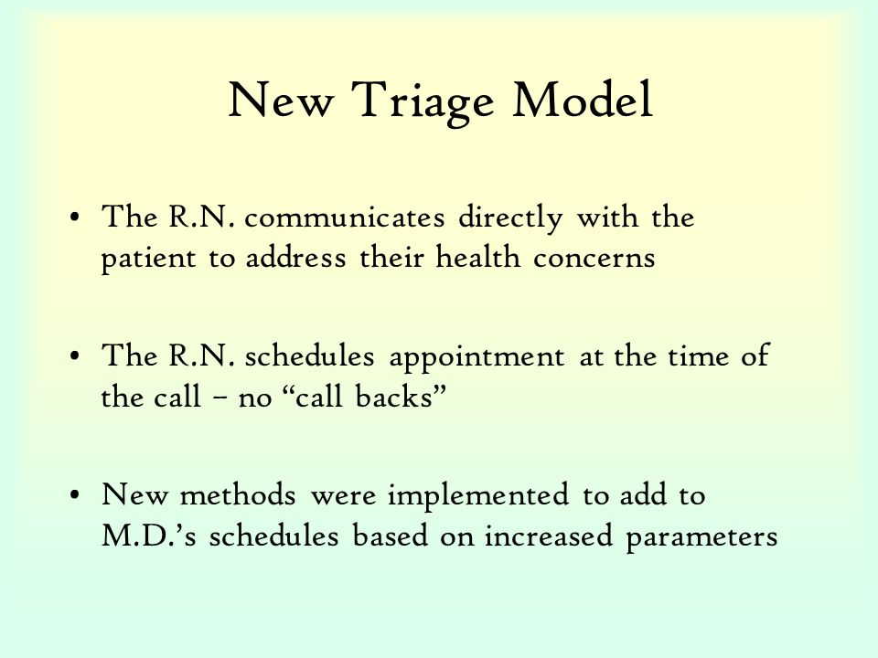 New Triage Model The R.N. communicates directly with the patient to address their health concerns The R.N. schedules appointment at the time of the ca