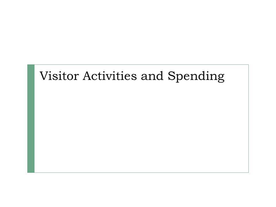 Visitor Activities and Spending