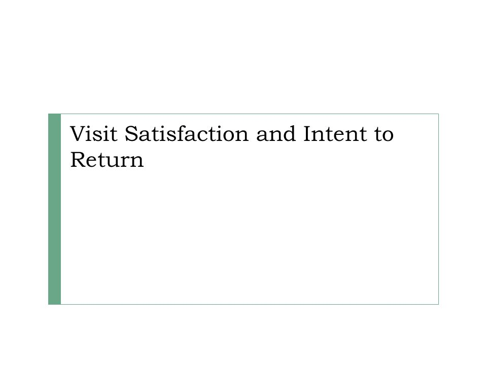 Visit Satisfaction and Intent to Return