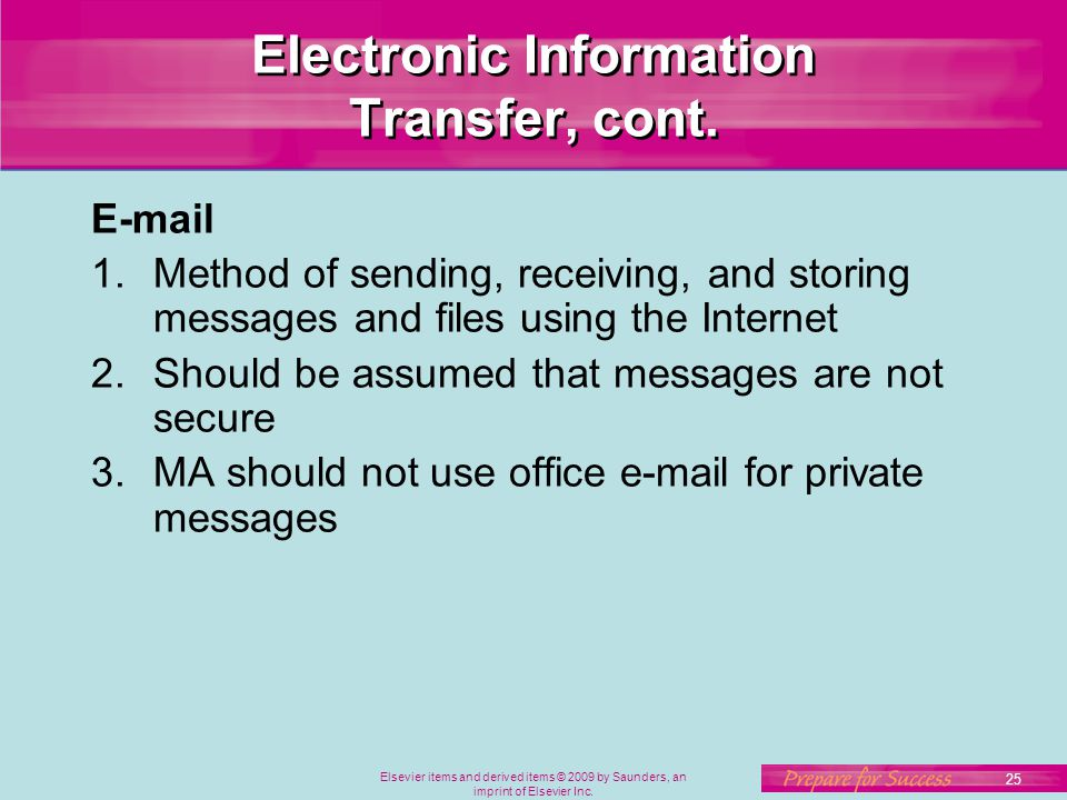 Elsevier items and derived items © 2009 by Saunders, an imprint of Elsevier Inc. 25 Electronic Information Transfer, cont. E-mail 1.Method of sending,