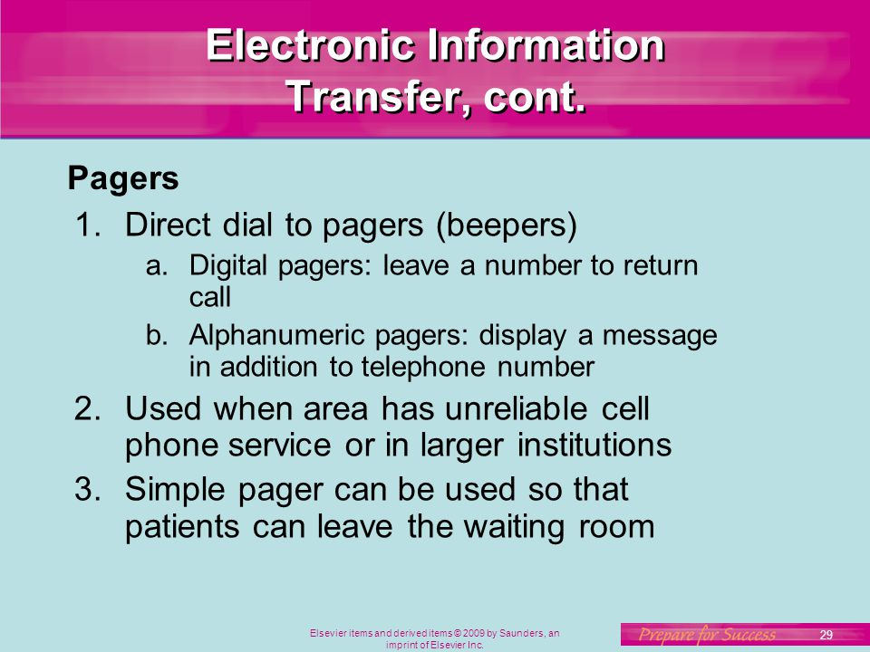 Elsevier items and derived items © 2009 by Saunders, an imprint of Elsevier Inc. 29 Electronic Information Transfer, cont. 1.Direct dial to pagers (be