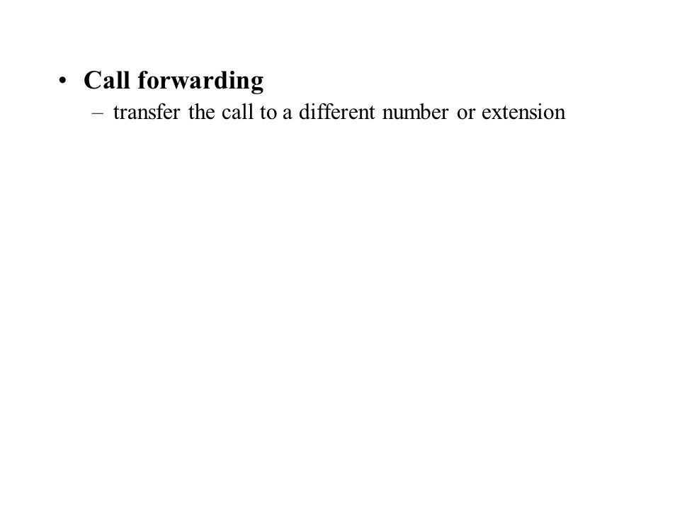 Call forwarding –transfer the call to a different number or extension