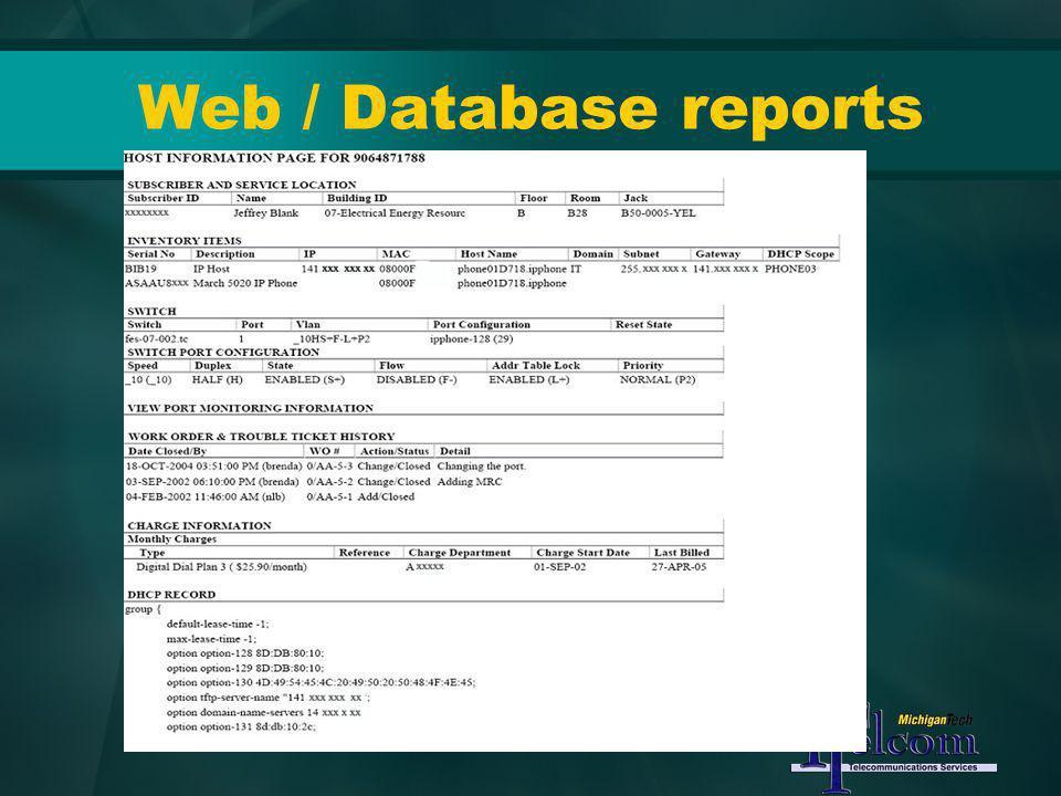 Web / Database reports
