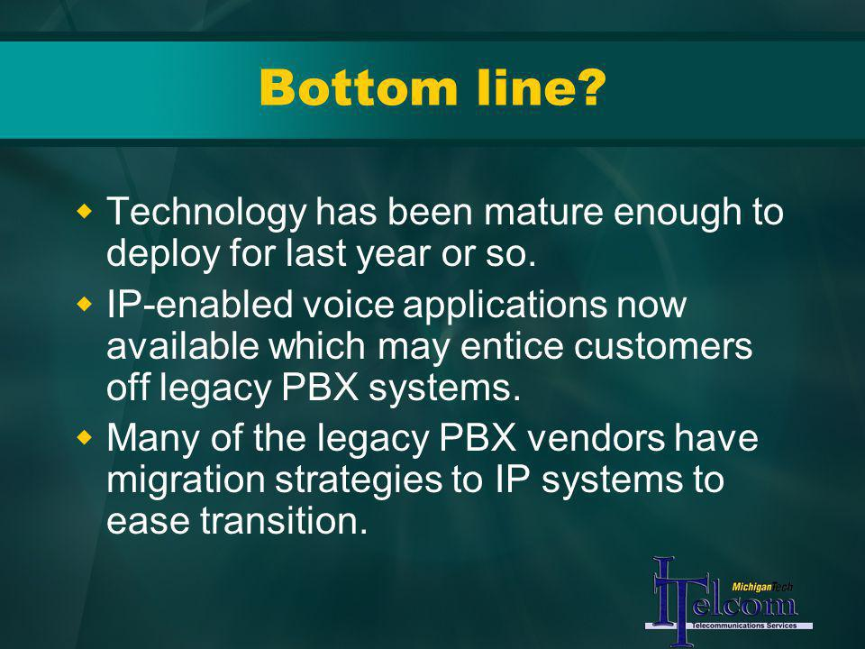 Bottom line? Technology has been mature enough to deploy for last year or so. IP-enabled voice applications now available which may entice customers o