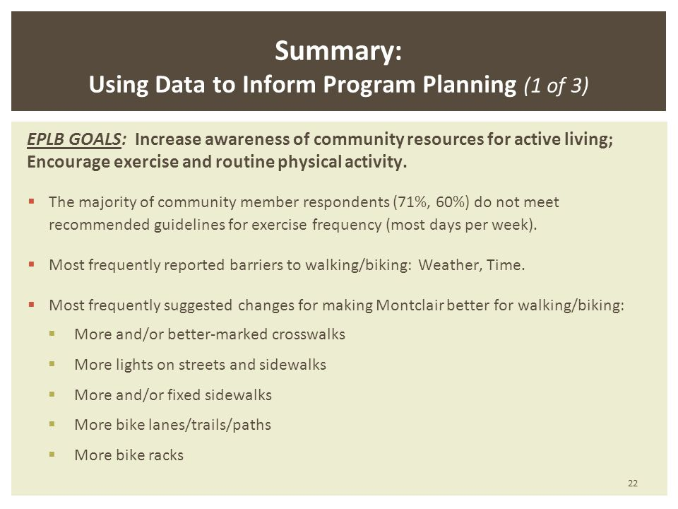 Summary: Using Data to Inform Program Planning (1 of 3) EPLB GOALS: Increase awareness of community resources for active living; Encourage exercise and routine physical activity.