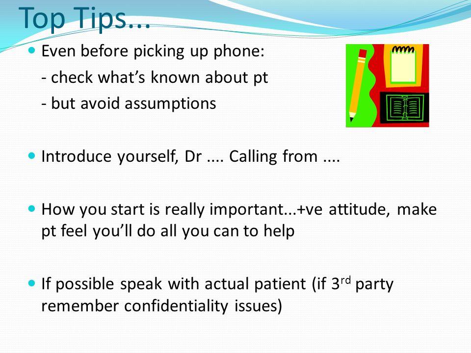 Top Tips...