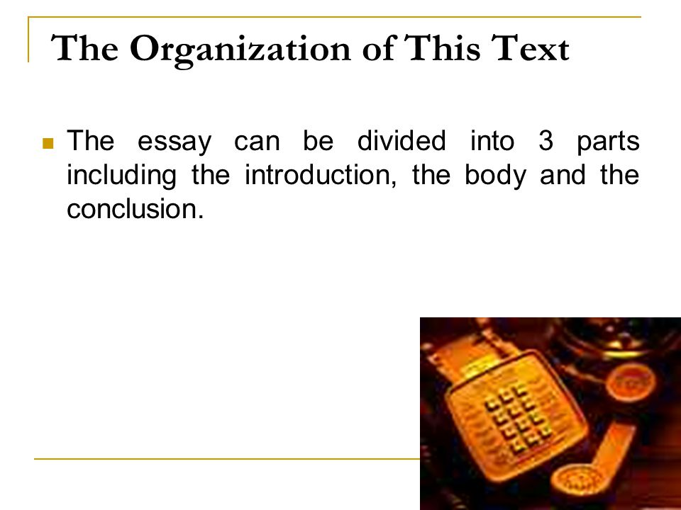 The Organization of This Text The essay can be divided into 3 parts including the introduction, the body and the conclusion.