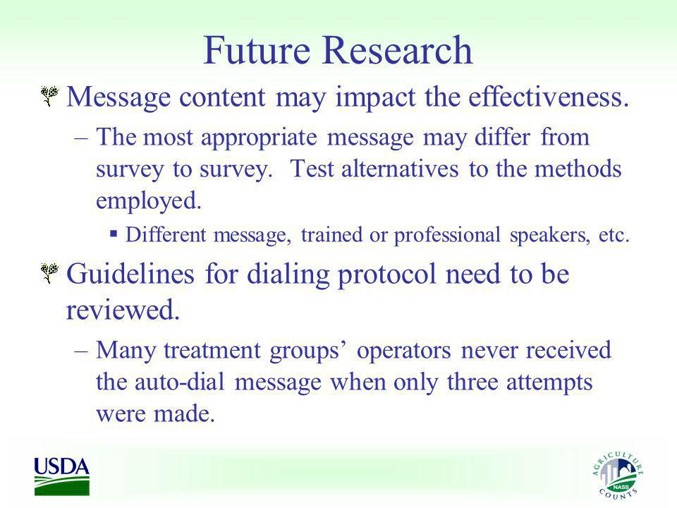 Future Research Message content may impact the effectiveness. –The most appropriate message may differ from survey to survey. Test alternatives to the