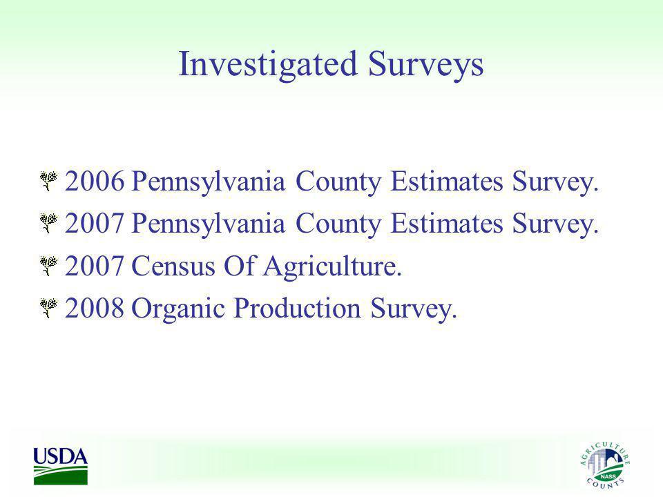 Investigated Surveys 2006 Pennsylvania County Estimates Survey. 2007 Pennsylvania County Estimates Survey. 2007 Census Of Agriculture. 2008 Organic Pr