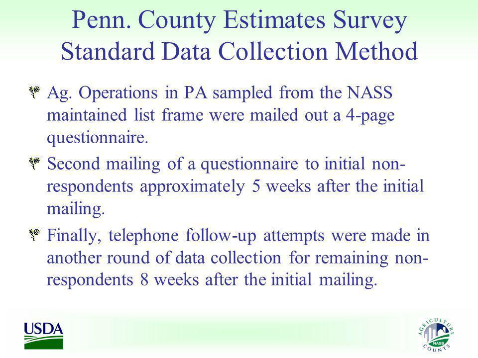 Penn. County Estimates Survey Standard Data Collection Method Ag.
