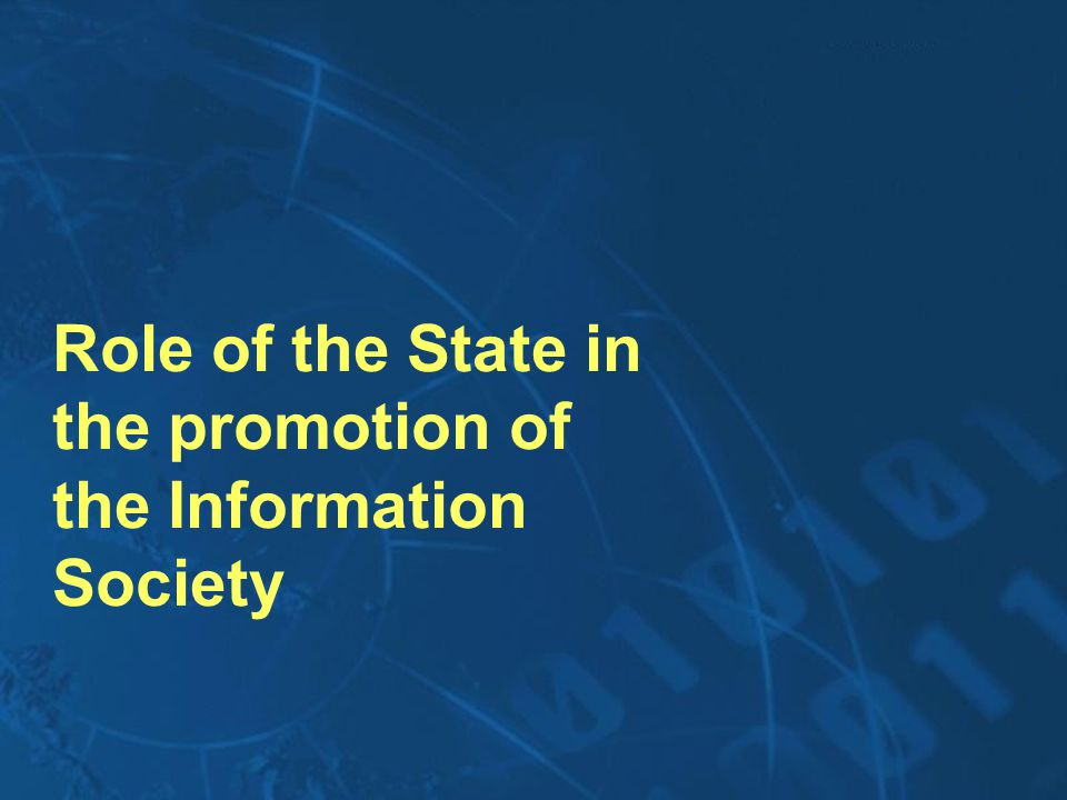 Role of the State in the promotion of the Information Society