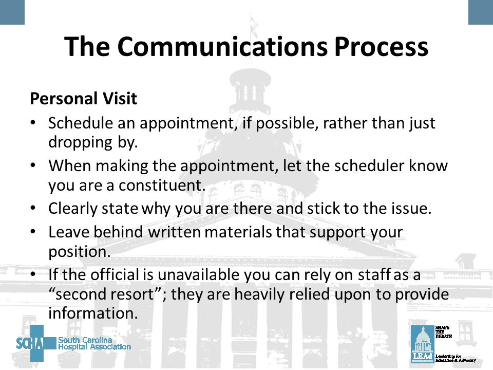 The Communications Process Personal Visit Schedule an appointment, if possible, rather than just dropping by.