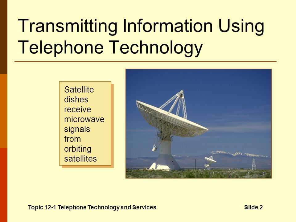 Transmitting Information Using Telephone Technology Telecommunications Electronic transfer of information over a distance Many forms of information ca