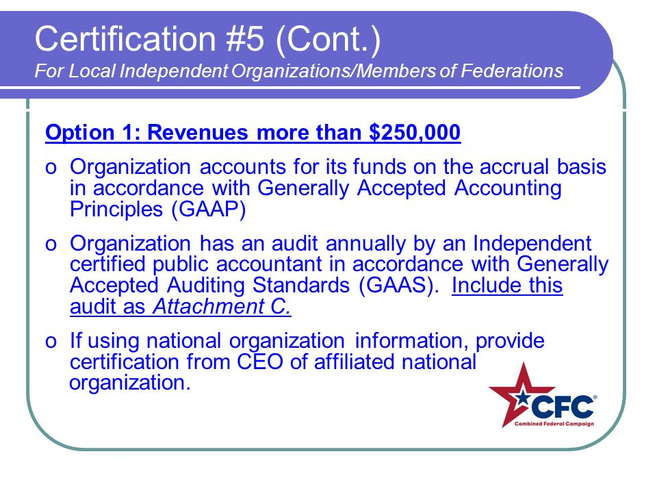 Certification #5 (Cont.) For Local Independent Organizations/Members of Federations Option 1: Revenues more than $250,000 oOrganization accounts for i