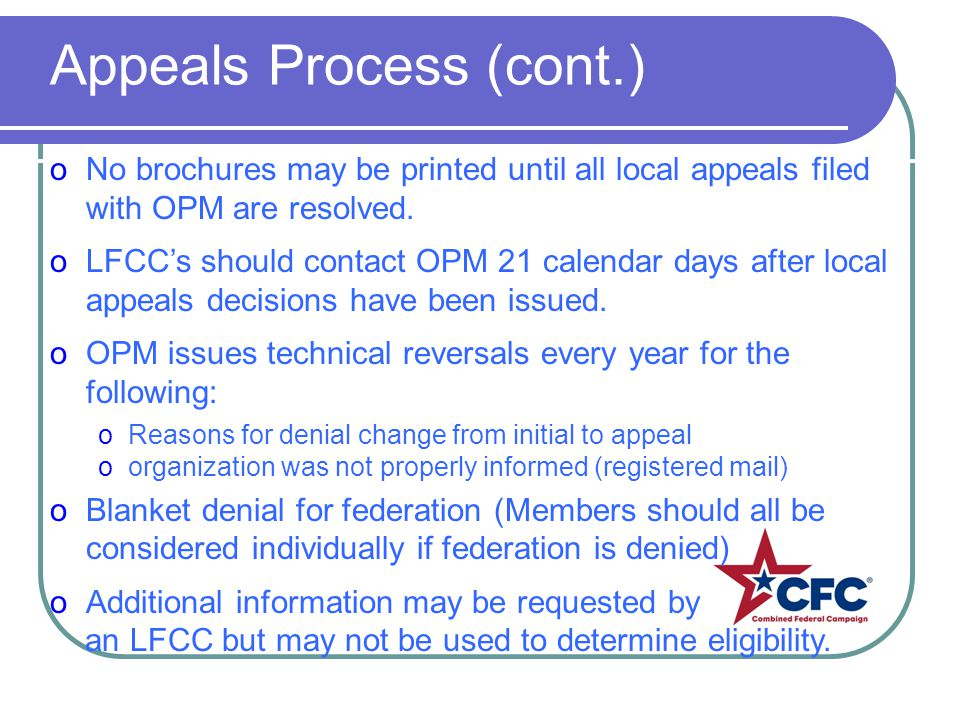 oNo brochures may be printed until all local appeals filed with OPM are resolved. oLFCCs should contact OPM 21 calendar days after local appeals decis
