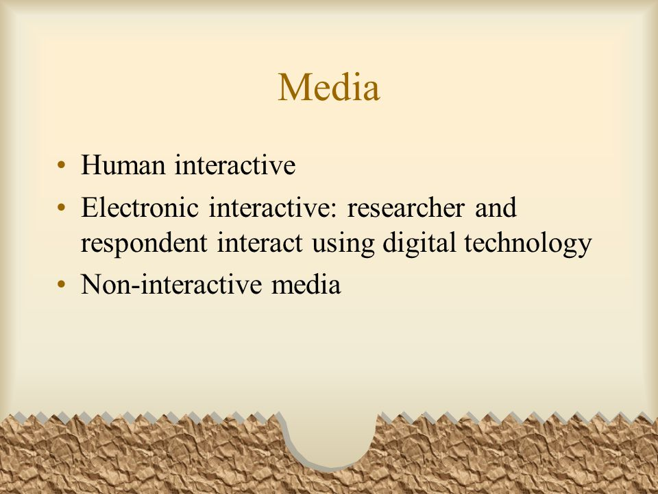 Media Human interactive Electronic interactive: researcher and respondent interact using digital technology Non-interactive media