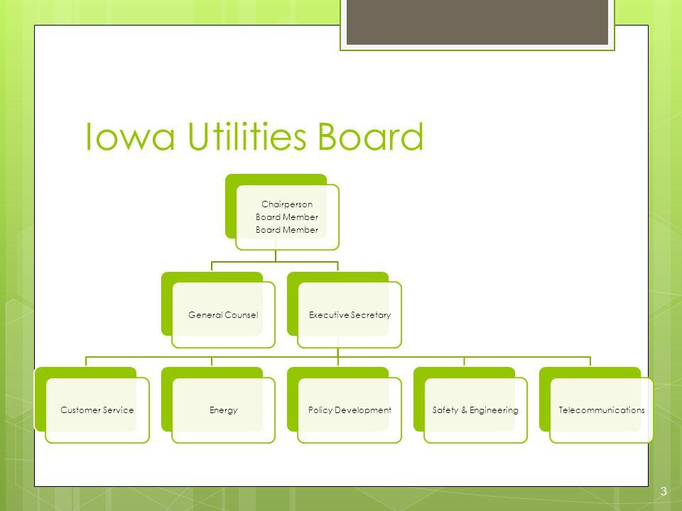 Iowa Utilities Board Chairperson Board Member General CounselExecutive SecretaryCustomer ServiceEnergyPolicy DevelopmentSafety & EngineeringTelecommunications 3