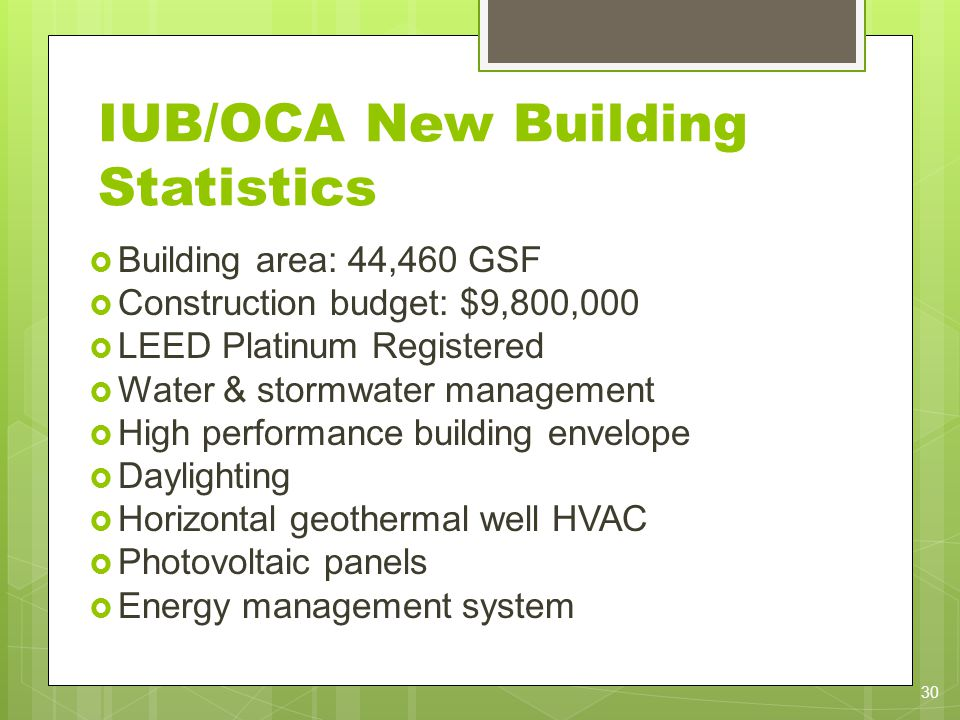 IUB/OCA New Building Statistics Building area: 44,460 GSF Construction budget: $9,800,000 LEED Platinum Registered Water & stormwater management High