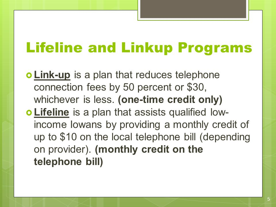 Lifeline and Linkup Programs Link-up is a plan that reduces telephone connection fees by 50 percent or $30, whichever is less. (one-time credit only)