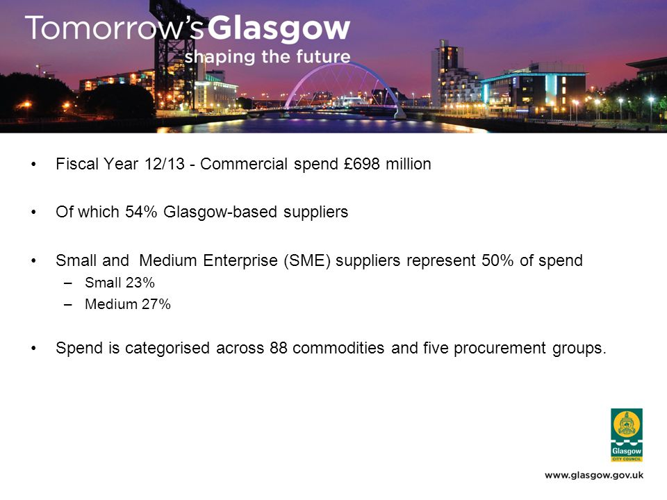 Fiscal Year 12/13 - Commercial spend £698 million Of which 54% Glasgow-based suppliers Small and Medium Enterprise (SME) suppliers represent 50% of spend –Small 23% –Medium 27% Spend is categorised across 88 commodities and five procurement groups.