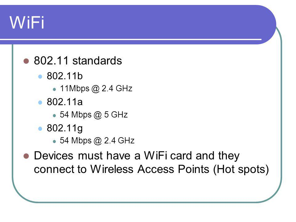 WiFi 802.11 standards 802.11b 11Mbps @ 2.4 GHz 802.11a 54 Mbps @ 5 GHz 802.11g 54 Mbps @ 2.4 GHz Devices must have a WiFi card and they connect to Wir