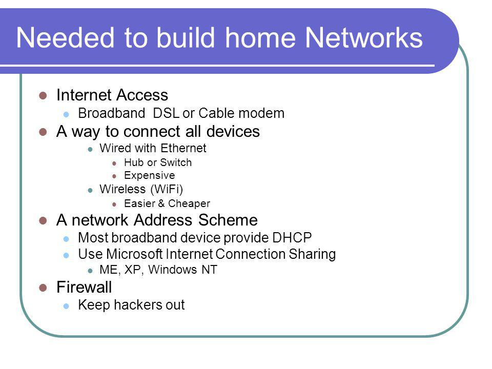 Needed to build home Networks Internet Access Broadband DSL or Cable modem A way to connect all devices Wired with Ethernet Hub or Switch Expensive Wireless (WiFi) Easier & Cheaper A network Address Scheme Most broadband device provide DHCP Use Microsoft Internet Connection Sharing ME, XP, Windows NT Firewall Keep hackers out