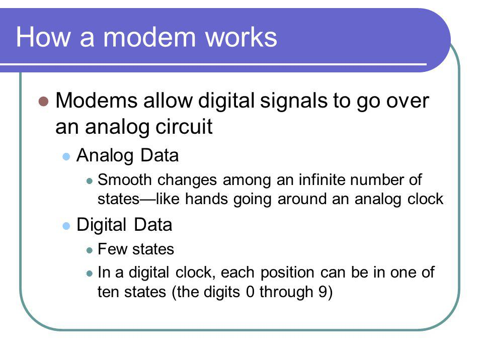 How a modem works Modems allow digital signals to go over an analog circuit Analog Data Smooth changes among an infinite number of stateslike hands going around an analog clock Digital Data Few states In a digital clock, each position can be in one of ten states (the digits 0 through 9)