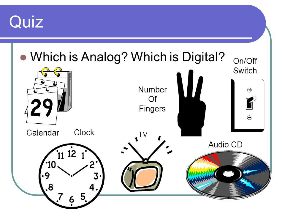 Quiz Which is Analog Which is Digital Calendar Clock Number Of Fingers Audio CD On/Off Switch TV