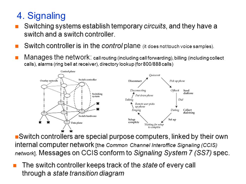 4. Signaling Switching systems establish temporary circuits, and they have a switch and a switch controller. Switching systems establish temporary cir