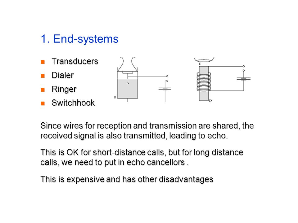1. End-systems Transducers Transducers Dialer Dialer Ringer Ringer Switchhook Switchhook Since wires for reception and transmission are shared, the re