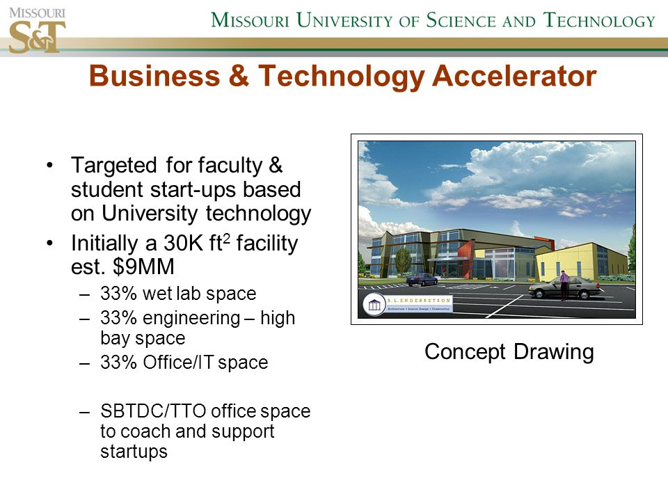 Business & Technology Accelerator Targeted for faculty & student start-ups based on University technology Initially a 30K ft 2 facility est.