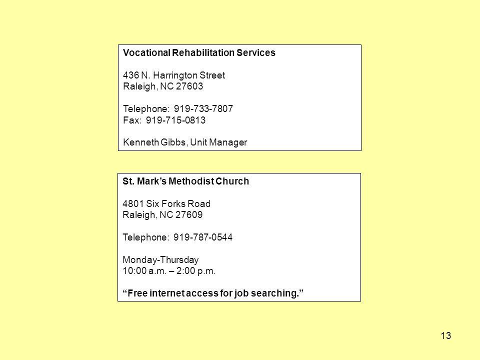 13 Vocational Rehabilitation Services 436 N.