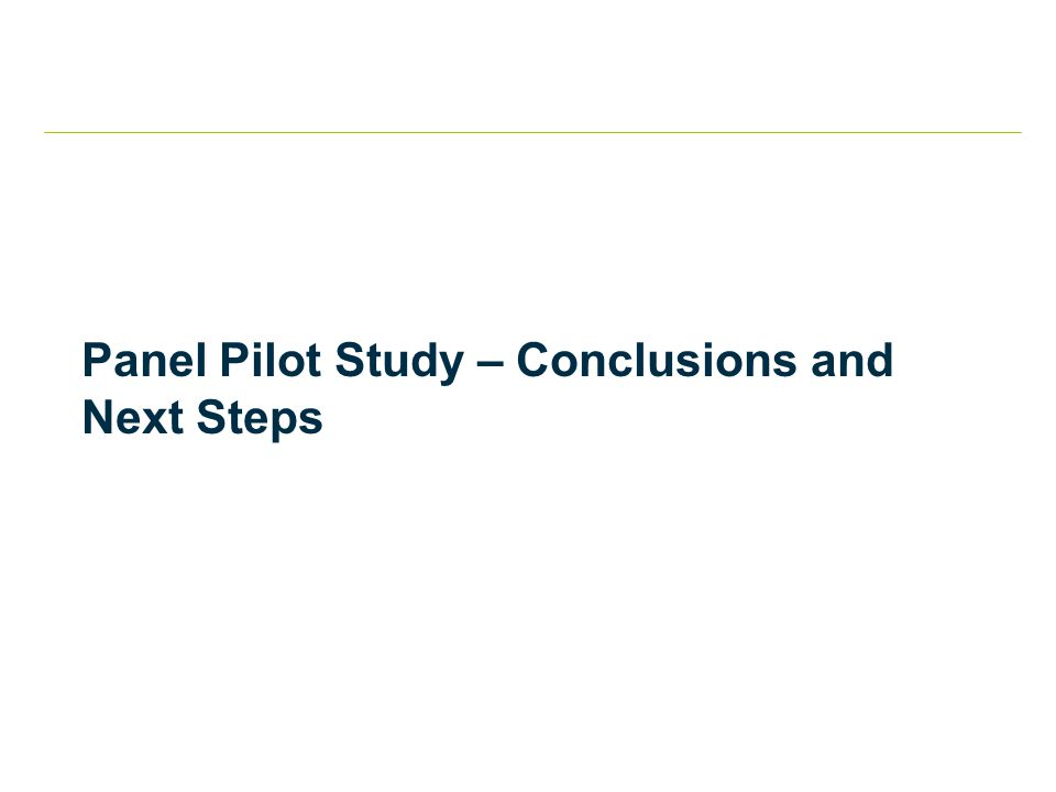 Panel Pilot Study – Conclusions and Next Steps