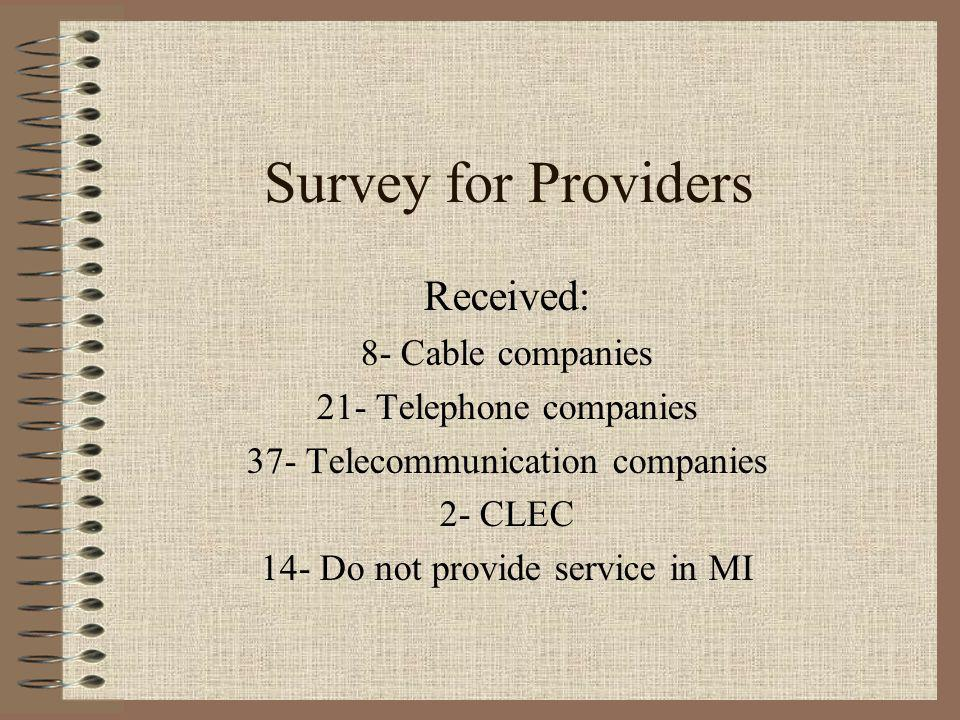 Survey for Providers Received: 8- Cable companies 21- Telephone companies 37- Telecommunication companies 2- CLEC 14- Do not provide service in MI