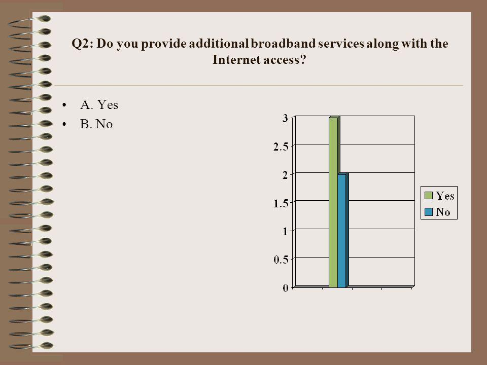 Q2: Do you provide additional broadband services along with the Internet access A. Yes B. No