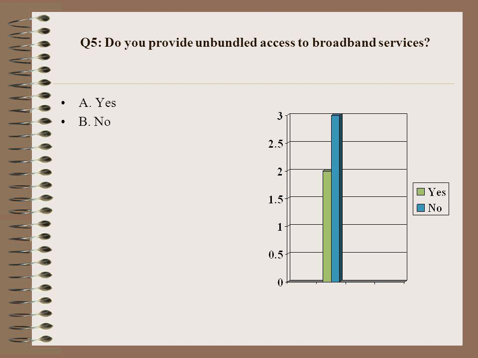 Q5: Do you provide unbundled access to broadband services? A. Yes B. No