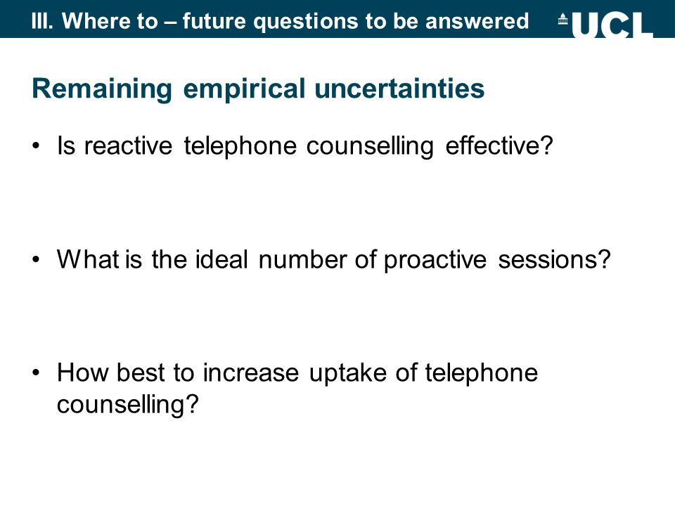 Remaining empirical uncertainties Is reactive telephone counselling effective.