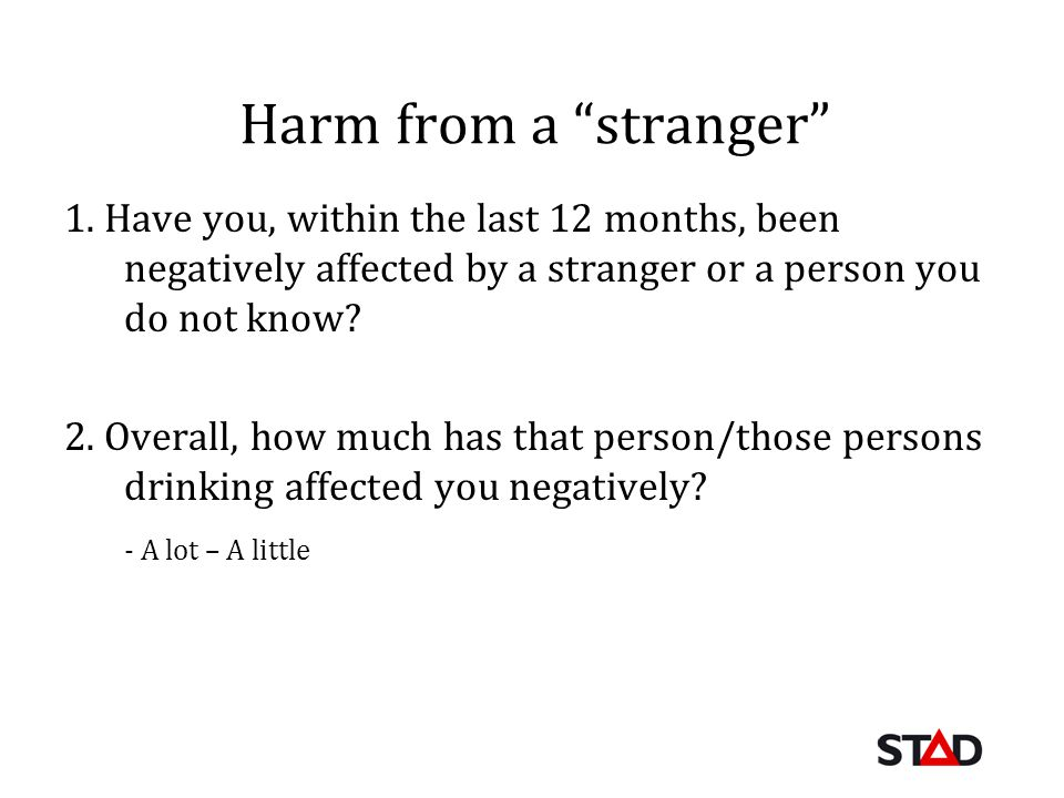 Harm from a stranger 1. Have you, within the last 12 months, been negatively affected by a stranger or a person you do not know? 2. Overall, how much