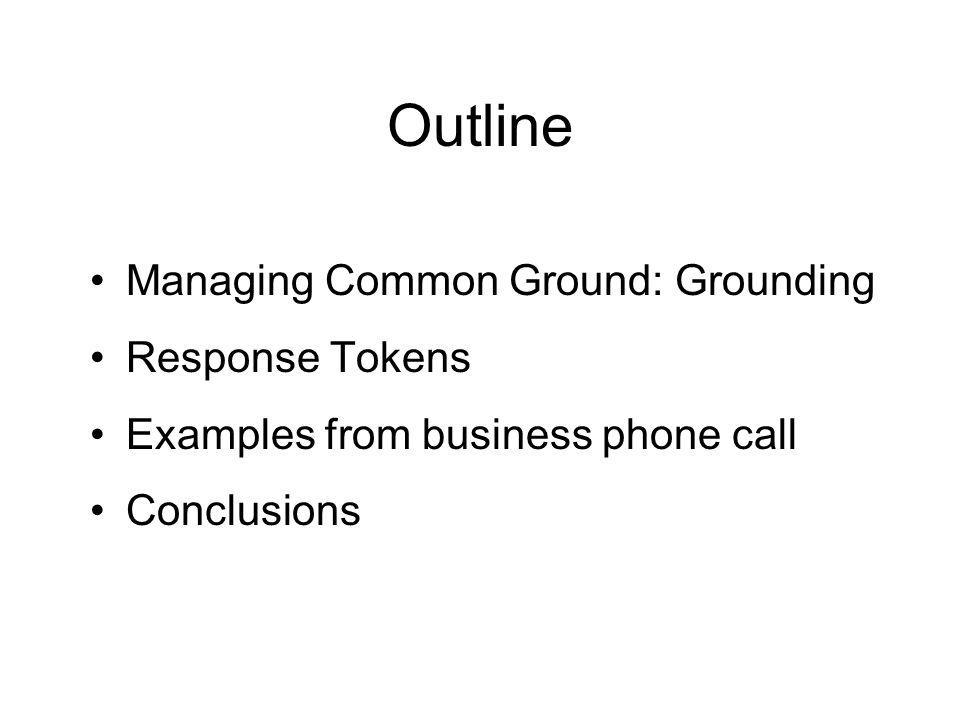 Outline Managing Common Ground: Grounding Response Tokens Examples from business phone call Conclusions