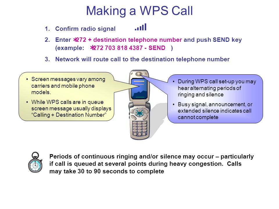 Making a WPS Call Periods of continuous ringing and/or silence may occur – particularly if call is queued at several points during heavy congestion. C