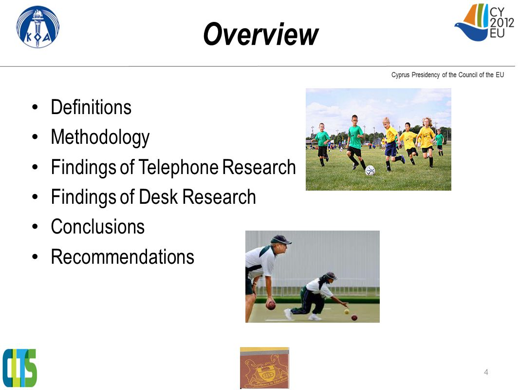 Findings: Team and Individual Sports that Cypriots 15+ engage in (by gender) 15
