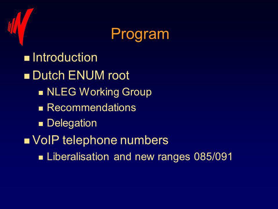 Program n Introduction n Dutch ENUM root n NLEG Working Group n Recommendations n Delegation n VoIP telephone numbers n Liberalisation and new ranges