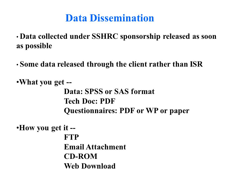 Data Dissemination Data collected under SSHRC sponsorship released as soon as possible Some data released through the client rather than ISR What you get -- Data: SPSS or SAS format Tech Doc: PDF Questionnaires: PDF or WP or paper How you get it -- FTP Email Attachment CD-ROM Web Download