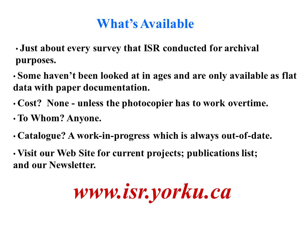 Whats Available Just about every survey that ISR conducted for archival purposes.