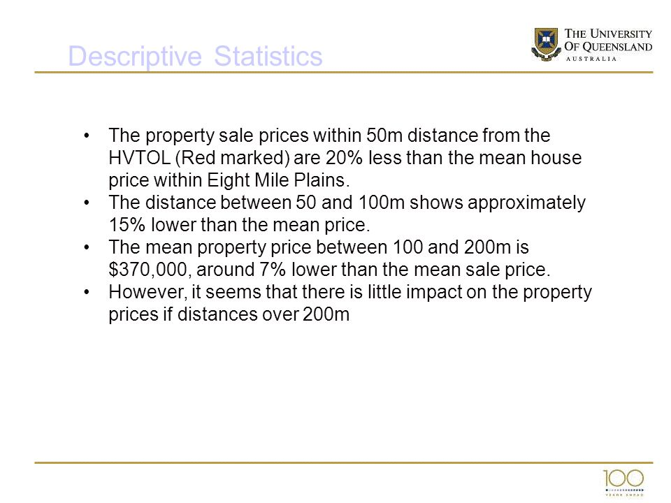 The property sale prices within 50m distance from the HVTOL (Red marked) are 20% less than the mean house price within Eight Mile Plains. The distance