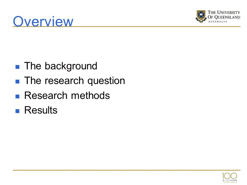 Overview The background The research question Research methods Results